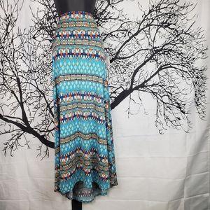 LuLaRoe Maxi Skirt Light Blue, Navy, Red & White